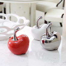 handmade creative plated red ceramic apple decoration tiny porcelain apple christmas ornament gift modern ceramic home decors(China)