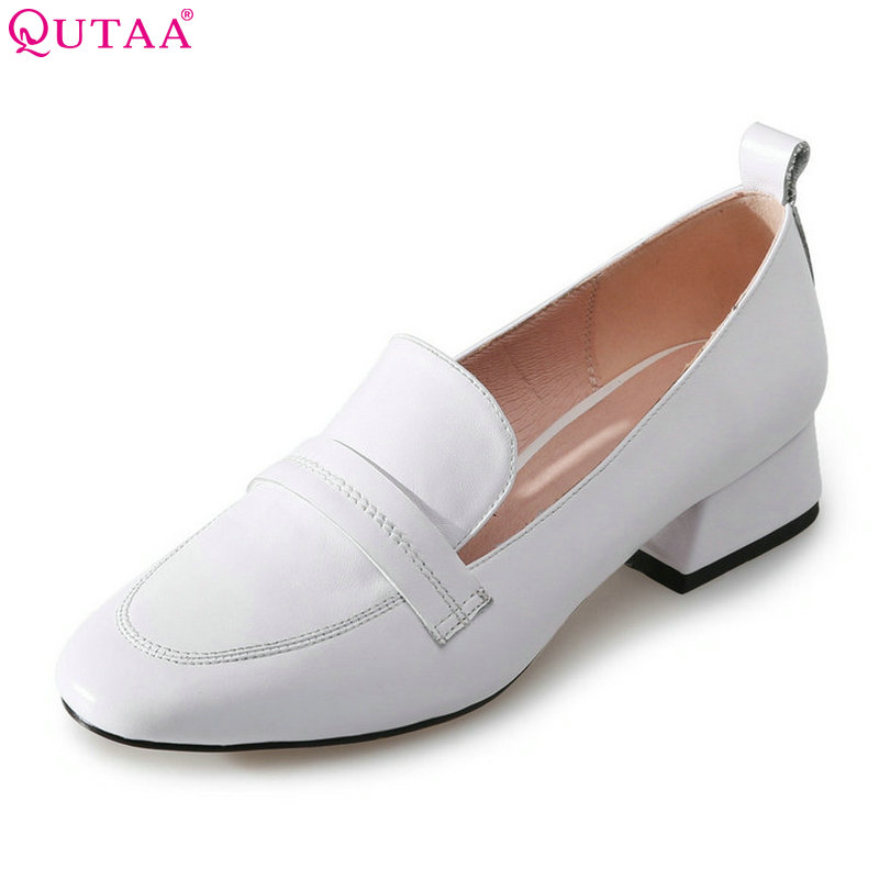 QUTAA 2018 Women Pumps Genuine Leather Fahsion Women Shoes Slip on Platform White All Match Westrn Style Ladies Pumps Size 34-39<br>