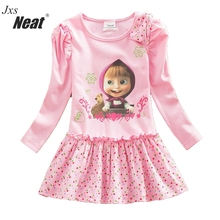 NEAT 2017Retail baby girl long sleeve dress fashion pink print pattern dot bow girl 100% cotton dress children's clothing H5306
