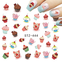 1pcs Nail Sticker Chocolate/Fruit/Cheese/Cream Cake Beauty Printing Nail Designs Water Transfer DIY Decals Nail Tools TRSTZ444(China)