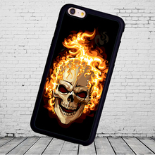 Skull on flames cellphone case Printed Soft Rubber Skin  Phone Cases For iPhone 6 6S Plus 7 7 Plus 5 5S 5C SE 4S Back Cover