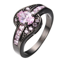 Pink Crystal Stone Ring Fashion Jewelry Black Gold Filled Cubic Zircon Women Bridal Crystal Rings Anel Anies Promotion RB0012