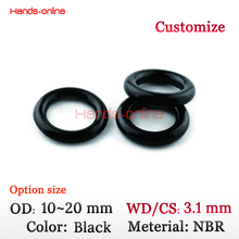 Optional OD 10 11 12 13 14 15 16 17 18 19 20 mm Black Rubber Oil Seal O Ring Sealing Gasket CS wire 3.1mm 10pcs/lot