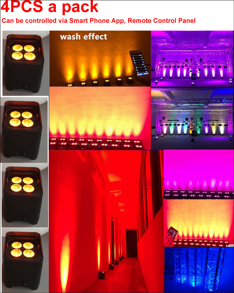4X12w 6in1 RGBWA+UV Wireless Battery APP control led par can for stage light