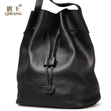 QIWANG Ruched Hobo Bag Real Leather Soft Bucket Bag Thickness Genuine Leather Designer Bag Women 100% Genuine Leather Handbag