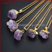BOROSA Fashion Gold Color Freeform Natural Purple Crystal Faceted Point Pendant Bead Necklace 16 Inch Chain WX018-N - Alicejewelry Store store