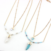 Mulit  Layers Blue Turquoise Pendant Necklace 2015 Fashion Style Peas Chain String Beads Necklace Gold Plated Jewelry