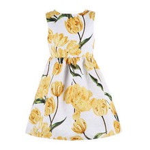 Princess Dress Vestidos Infantil 2017 Brand Toddler Girls Dresses Robe Enfant Tulip Flower Print Children Dress Kids Clolthing