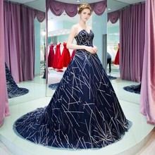 Zuhair Murad Haute Couture Navy Blue Evening Dresses Long Beaded Formal Occasion Dress Lace Up Back