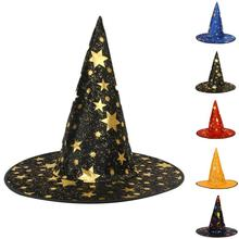 Halloween Witch Hat Party Decoration Black Witch Caps For Women/Man Adult Gift Hats Festive Events Head Dress 3(China)