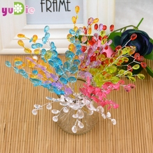Free shipping 10pcs Water Drop Artificial Acrylic Flower Picks Crystal Diamante Flower Branches For Party Wedding Decoration(China)