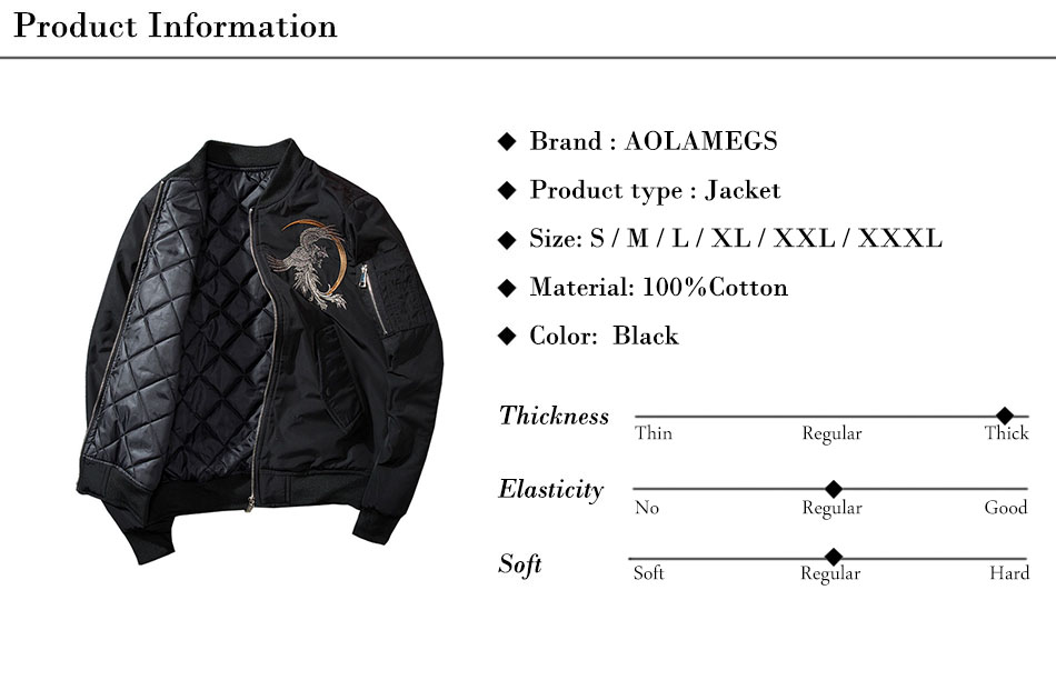 Aolamegs Bomber Jacket Phoenix Embroidery Thick Men's Jacket Stand Collar Fashion Outwear Men Coat Bomb Baseball Jackets Winter