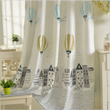 Polyester Cotton Curtains for Children Korean Style Window Treatments Cartoon Balloon Pattern Window Curtain for Kids Bedroom