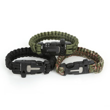 Hot Survival Paracord Bracelet Outdoor Scraper Whistle Flint Fire Starter Gear Kits  Fit For fashion Bracelets Jewelry making