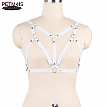 Womens Sexy Body Harness Lingerie Belts Elastic White Strappy Tops Bustier Bondage bra Rivet Goth Fetish Exotic Burlesque Corset(China)