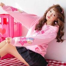 New Women Oversized Hoodies Jumper Sweatshirt Female Pink Korea Fashion Stylish Lady Lovely Star Rainbow Harajuku Loose Pullover