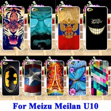 Soft TPU Hard PC Cell Phone Case For Meizu Meilan U10 U680H Meizu U10 Housing Cover Tiger Captain American Batman Shell Back Bag(China)