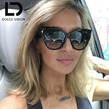 DOLCE VISION Sexy Sun Glasses for Women New Oculos Gradient Lens Mirror Cat Eye Sunglass Female Eyewear Original Brand Sunglasse
