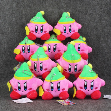 10pcs/lot 12cm Anime Kirby Cap Soft Plush Doll Pendant Stuffed Toy Super Cute Keychain Keyring Plush Toy