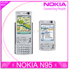 Refurbished N95 Original Nokia N95 WIFI GPS 5MP 2.6''Screen WIFI 3G Unlocked Mobile Phone 1 Year Warranty(China)