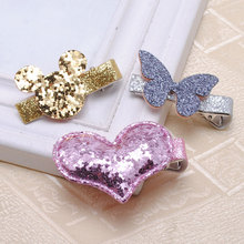 2 Piece Girls Hair Accessories Glitter And PU Hair Clips For Girls  Children Kids Gift Baby Hairpins Retail Boutique