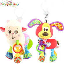 Happy Monkey Brand Bed Stroller Hanging 37cm Dog Plush Vibration Toy Rattle Teether Newborn Baby Gift Multifunction Educational