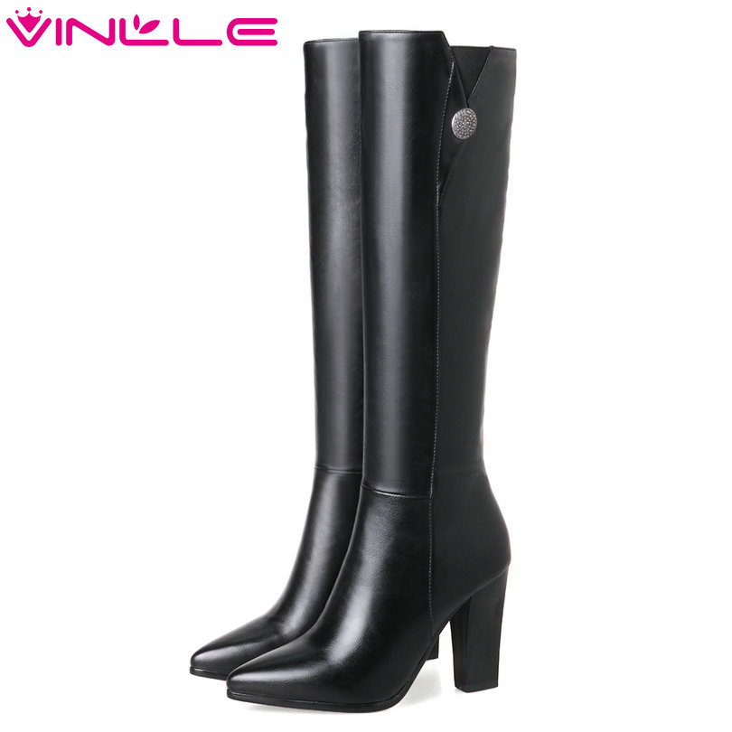 VINLLE 2018 Women Shoes Knee High Boots Square High Heel Black Rhinestone PU leather Ladies Motorcycle Shoes Size 34-43<br>