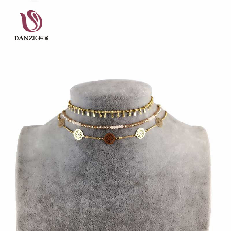 DANZE Bohemia Beaded Choker Necklace sets Women Indian Metal Hollow Necklace & Pendants Collier Femme Party Collares Jewelry