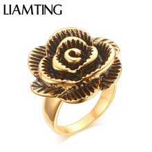 LIAMTING Beautiful 316L Stainless Steel Flower Ring For Women 24K Gold Ring With Black Enamel High Quality Ring Jewelry DE018