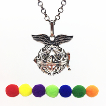 1PC Antiqued Silver Angel Wings Hollow Copper Locket Fragrance Essential Oil Aroma Diffuser Pendant Necklace Fashion Jewelry
