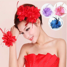 8 Colors Pearl Corsage Hair Clip Flower Fascinator Feather Hairpin Party Wedding Headwear Accessories(China)