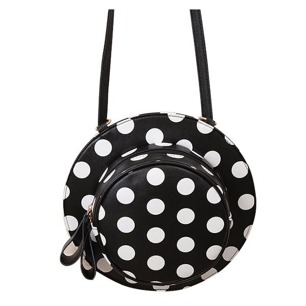 5x 1x Black white PU female models fashion national style personality hat shoulder diagonal bag # A white point<br>