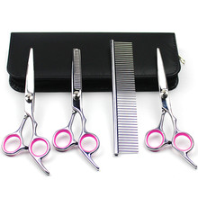 Dog Grooming Scissors Kits Curved Scissor Set Perfect for Pet Grooming Curved Tesoura Puppy Cat Hair Thinning Shears + Comb 40(China)