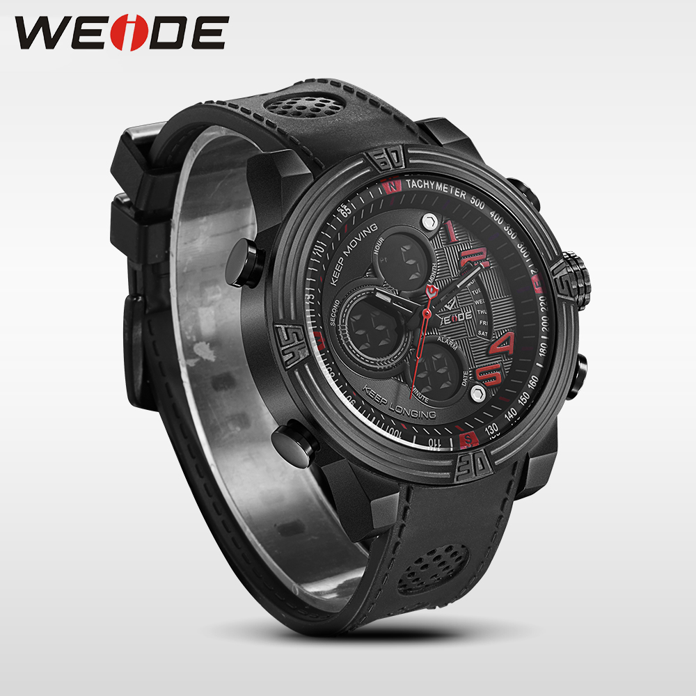 WEIDE New Men Quartz Casual Watch Army Military Sports Watch Waterproof Back Light Men Watches alarm Clock business men watches<br>