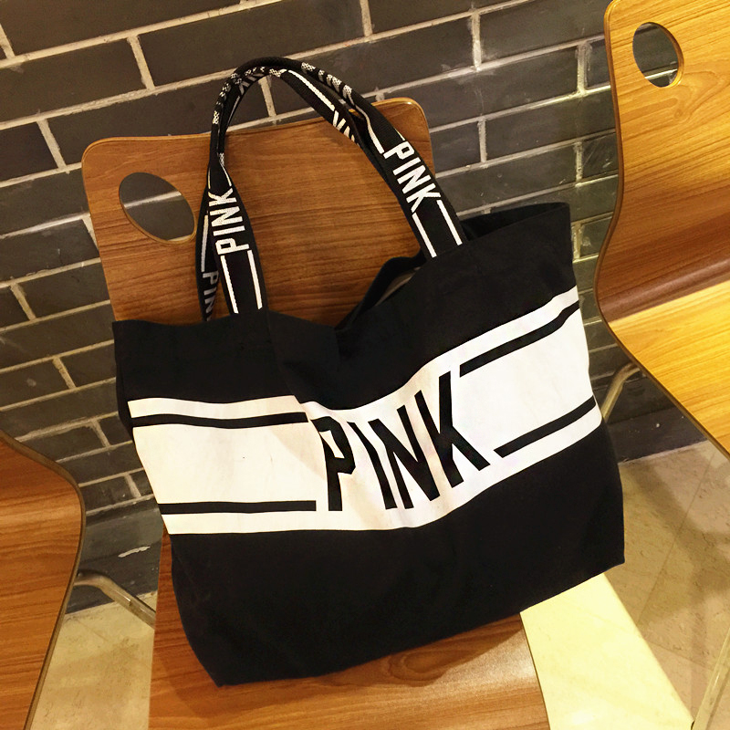 2017 New Arrive Vs pink personalized unique casual canvas shoulder bag female portable super large capacity shopping bag(China (Mainland))
