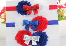 5pcs/lot 4th of July America Patriotic Red White Blue Shabby Rosette Flower FOE Elastic With Sequin Kids Headbands Free Shipping(China)