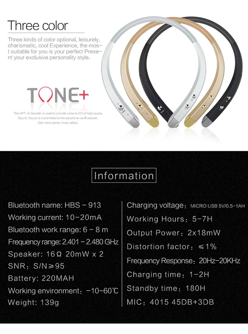 Waterproof Smart Bluetooth 4.0 Headphone Headset Wireless Earphone Sports Music Handsfree Voice Control Earphone #3