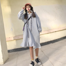 New Women Loose Hooded Letter Add Wool Firm Offers Smoke Long Student Who Dress Tail Rope Dresses Gray Black 3926(China)