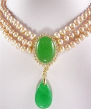 lady's perfect accessory! 3 Rows yellow pear GP green Jades  Pendant Necklace