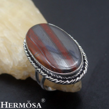 HERMOSA Jewelry simple fashion oval natural Hematite 925 sterling silver exquisite Retro Ring Size 9 HF1497(China)