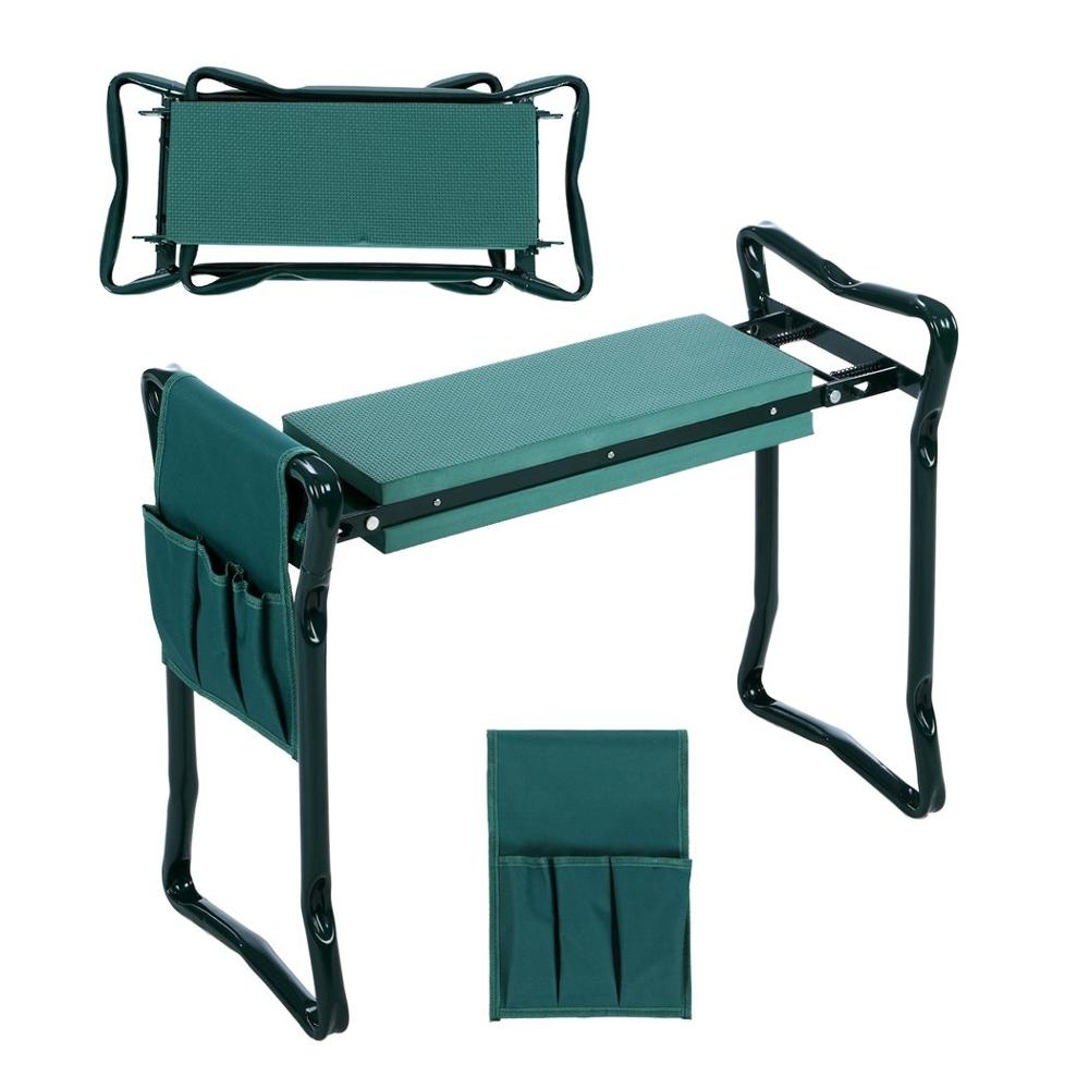 Folding Garden Kneeler and Seat with Bonus 2019 HOT Sale Multifunctional Seat with 3 Bonus Tool Pouches Bearing 150KG TV Product