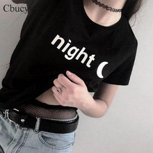 CbuCyi Night Moon Printed t-shirt Women Fashion Punk Style streetwear Harajuku Women Tops Tumblr Hipster Cotton Tshirts Black Wh(China)