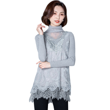 2017 New Women Shirts Loose Add Wool Mesh Full Sleeve In A Long Heaps Blouse Shirt Gray White Pink Other Colors 9829(China)