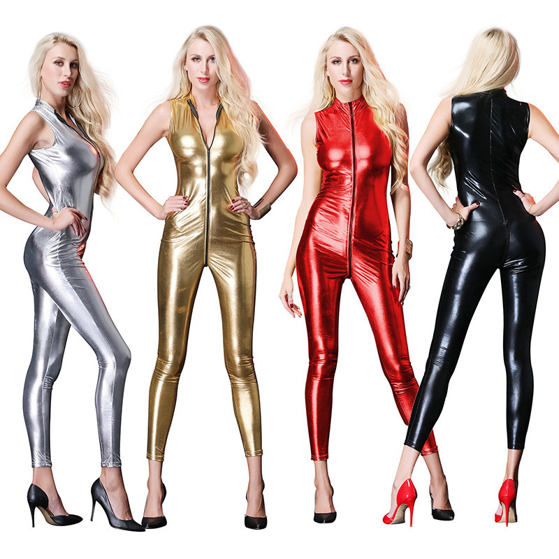 Sexy Lingerie Sleeveless Latex Catsuit Women Shiny Faux Leather Wetlook Bodysuit Open Crotch Zipper Jumpsuit Pole Dance Clubwear