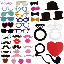 FENGRISE Photo Booth 44pcs DIY Photo Props Wedding Decoration Birthday Party Kids Favors Fun Mask Photography Event Supplies