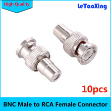 BNC Male Plug to RCA Female RF Coaxial Connector Adapter for CCTV Video 10pcs/Lot(China)