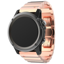 Metal Bracelet Stainless Steel Watch Wrist Band Strap For Garmin Fenix 3 / HR Colour:Rose Gold(China)