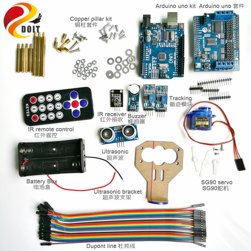Infrared Ultrasonic Obstacle Avoidance Tracking Controller Kit for Tank Car Chassis with SG90 Servo for Arduino Starter Kit<br>