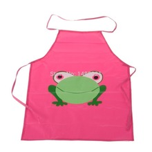 1 Pcs Children Apron Cute Lovely Cartoon Frog Kids Child Cleaning Aprons Rose Red Sanitary Apron