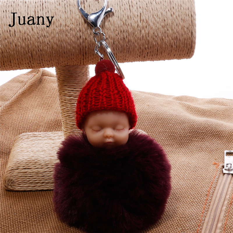 pompom key chain sleeping baby key chain cut rabbit fur ball keychain car key ring women keychian bag charm porte clef15